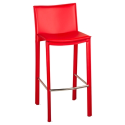 Ellis Modern Bar Stool in Red Bonded Leather