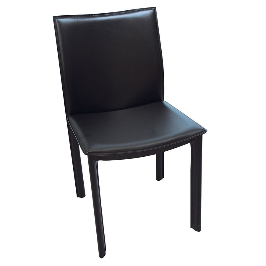 Ellis Modern Dining Chair in Black Bonded Leather