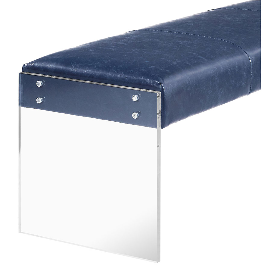 Elphin Faux Leather Blue + Clear Acrylic Modern Bench