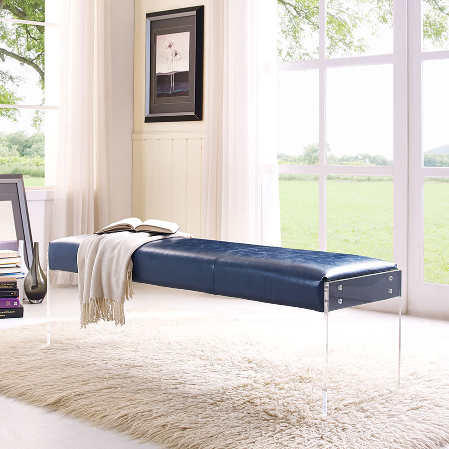 Elphin Blue Faux Leather + Clear Acrylic Contemporary Bench