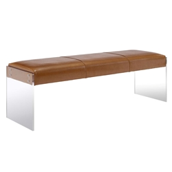 Elphin Brown Faux Leather + Clear Acrylic Modern Bench