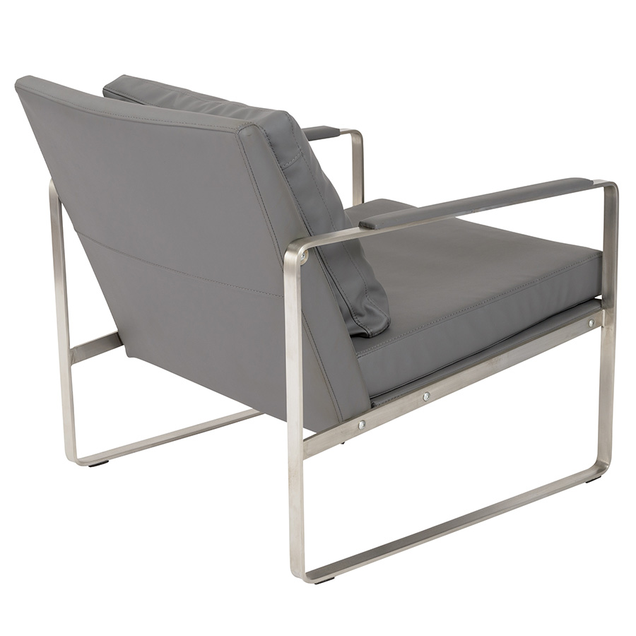 Emmett Gray Leatherette Contemporary Lounge Chair