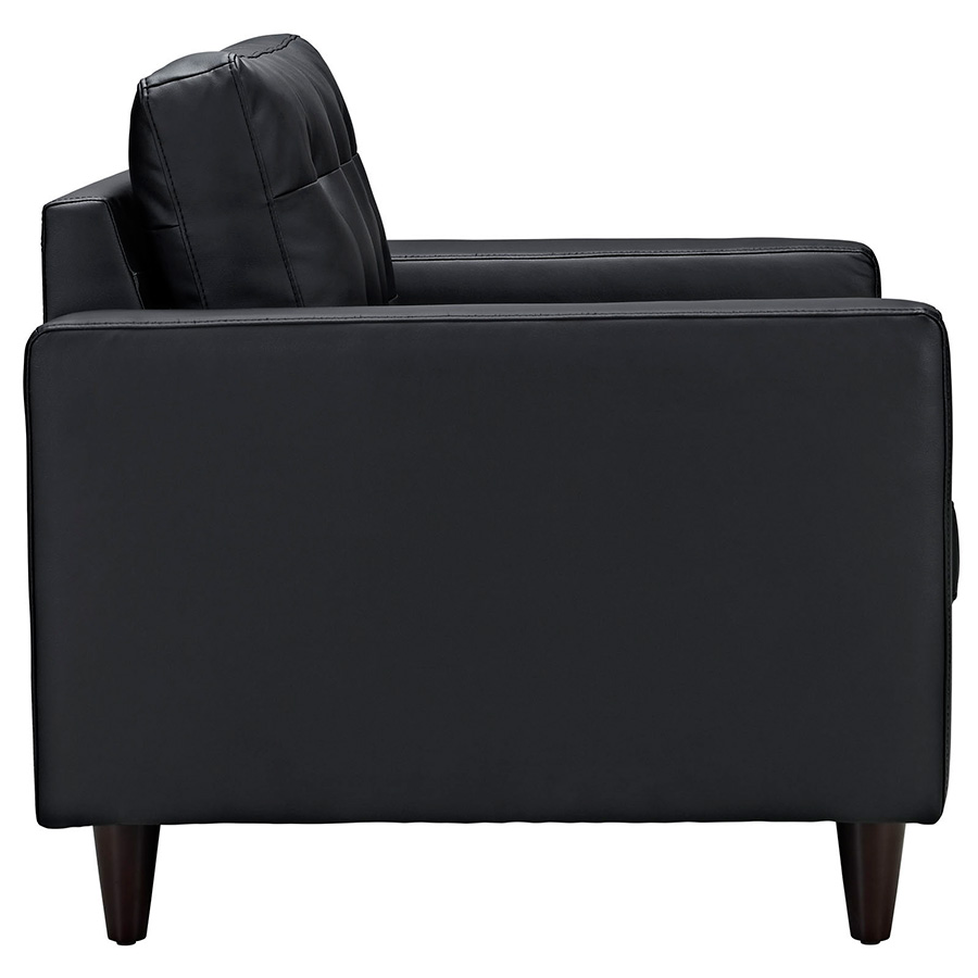 Enfield Black Leather Modern Lounge Chair - Side View