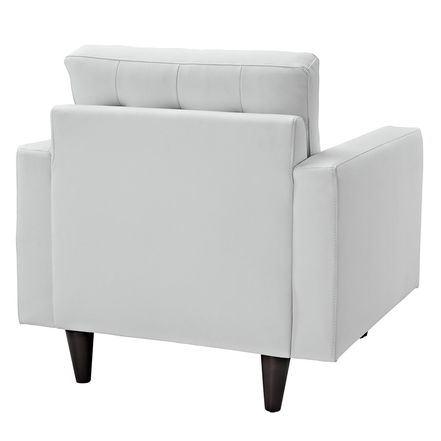 Enfield White Leather Modern Lounge Chair - Back View