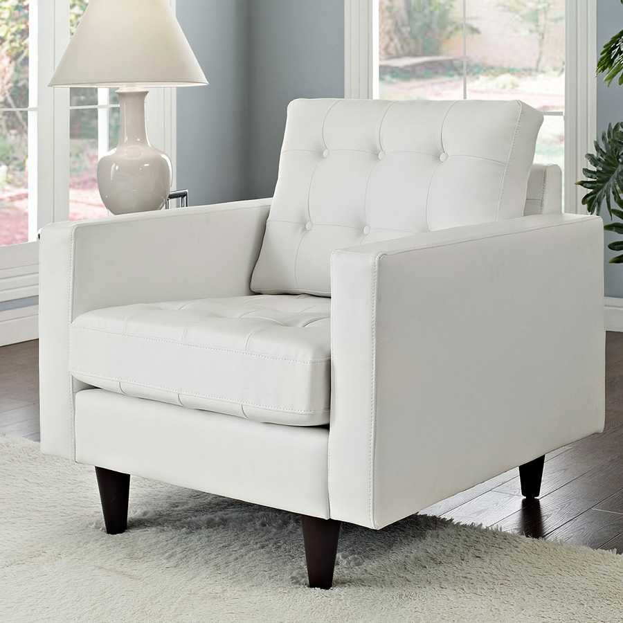 Enfield White Leather Contemporary Lounge Chair