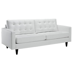 Enfield Modern White Leather Sofa