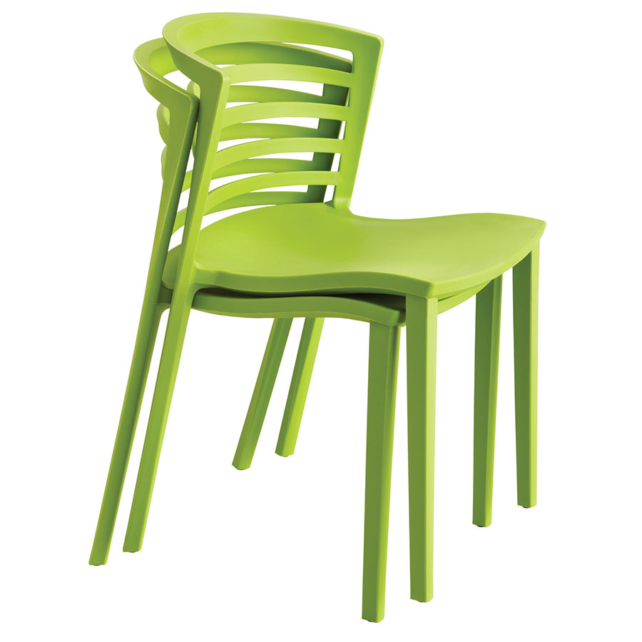 Enigma Modern Green Outdoor Chair - Stacked