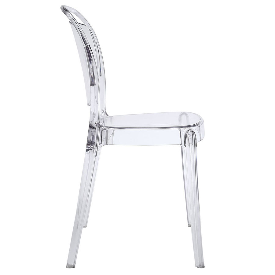 Entice Modern Clear Dining Chair - Side View