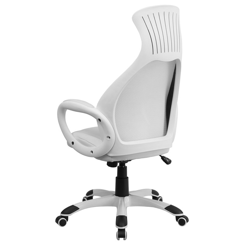 Europa Modern High Back White Office Chair - Back View