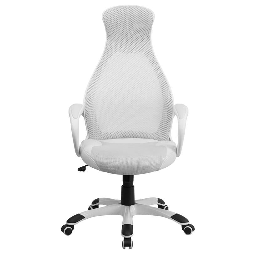 Europa Modern High Back White Office Chair - Front View