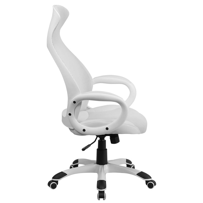 Europa Modern High Back White Office Chair - Side View