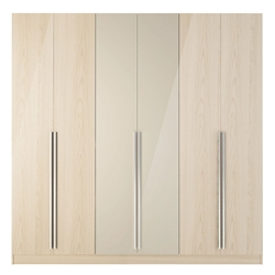 Europe Modern Vanilla Oak Wardrobe Armoire Closet