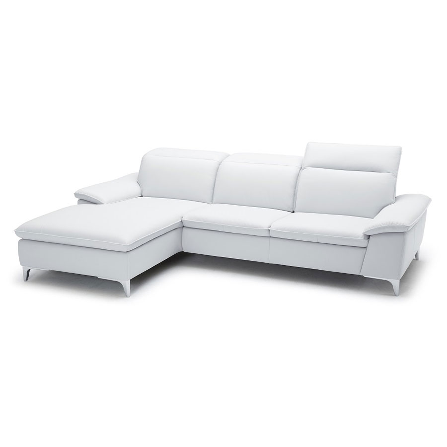 Evigt Modern Sofa w/ Chaise in White - Left Facing