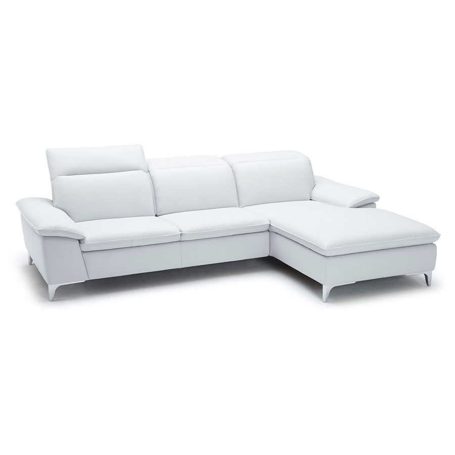 Evigt Modern Sofa w/ Chaise in White - Right Facing