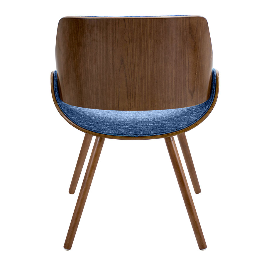 Fabien Blue Fabric + Solid Walnut Contemporary Side Chair