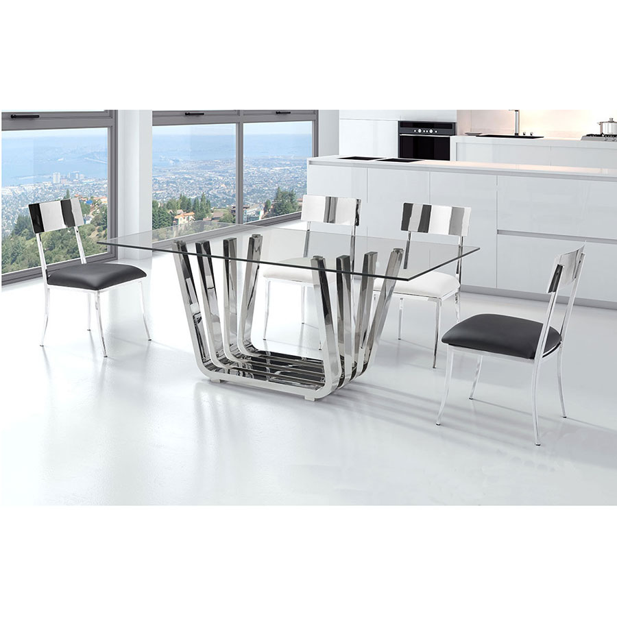 Fabius Polished Steel + Glass Modern Dining Table