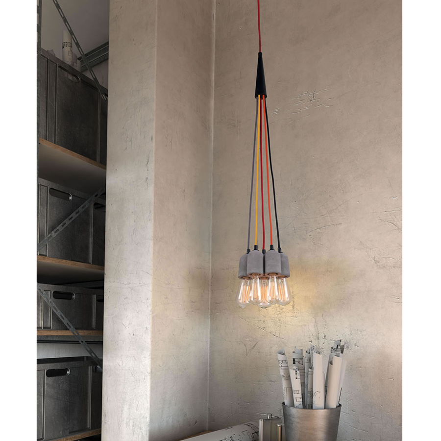 Feivel Cement + MultiColor Modern Hanging Lamp