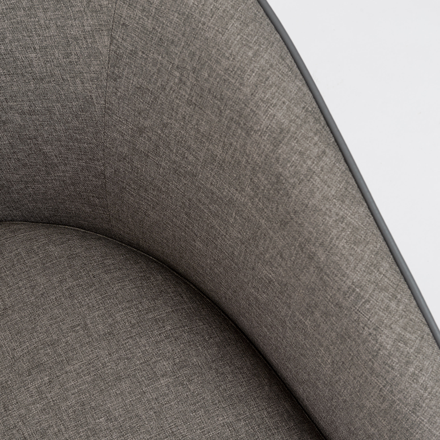 Fela Gray Fabric + Gray Leatherette Modern Lounge Chair Detail