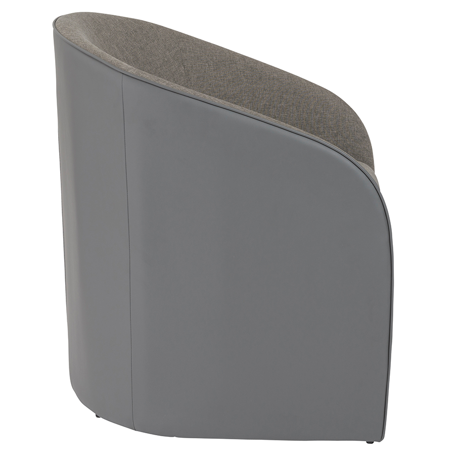 Fela Gray Fabric + Leatherette Modern Lounge Chair