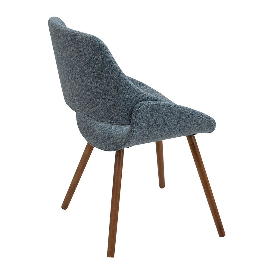 Finley Blue + Walnut Contemporary Side Chair