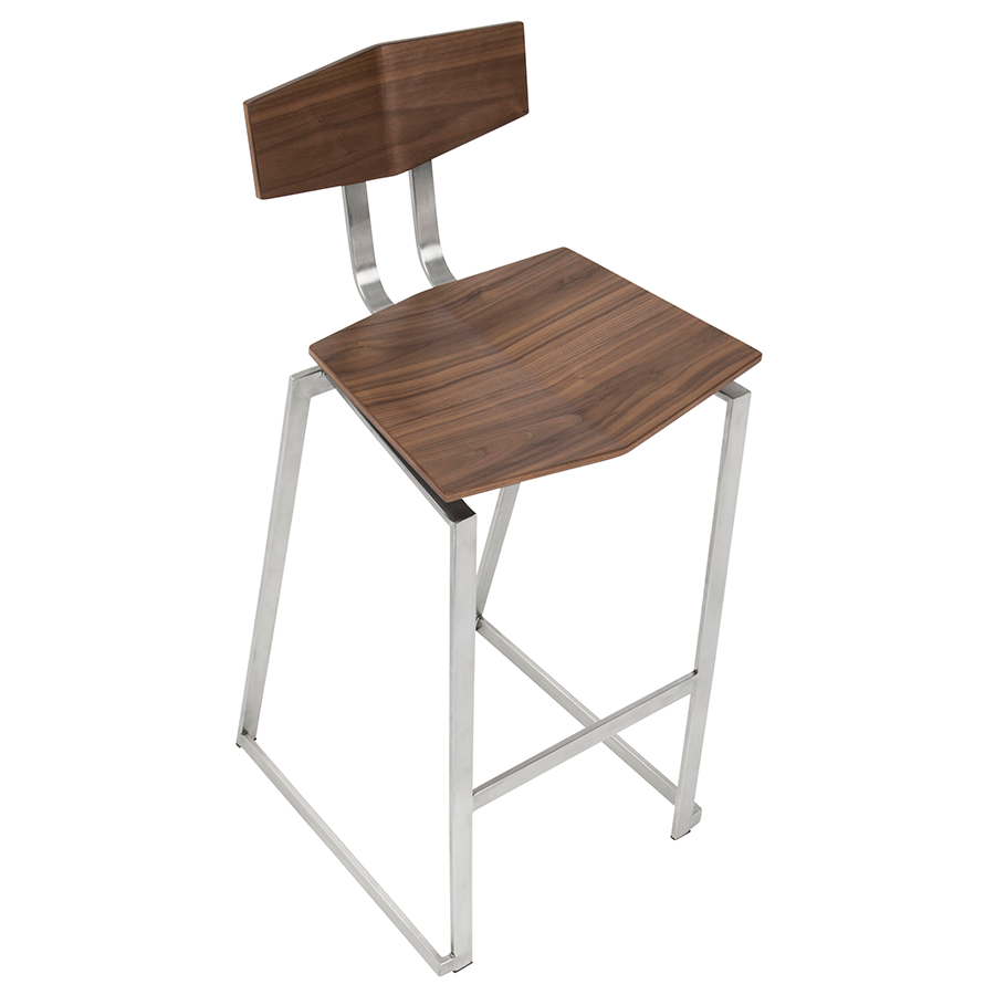 Fishel Walnut + Brushed Steel Contemporary Counter Height Stool