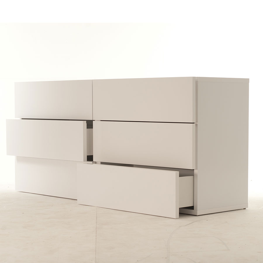 Float White Contemporary Dresser Room Open