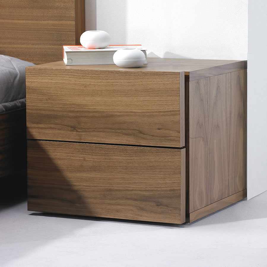 Float Walnut Contemporary Nightstand Dressed