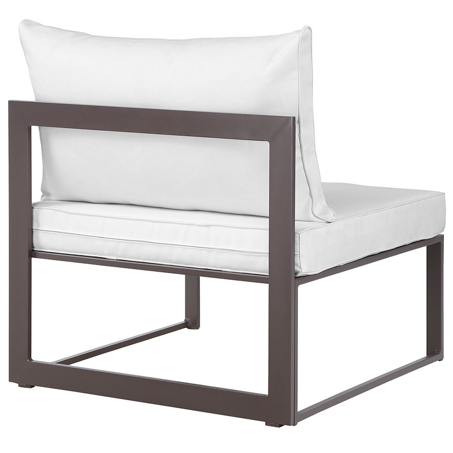 Fontana Brown + White Modern Outdoor Armless Chair - Back View