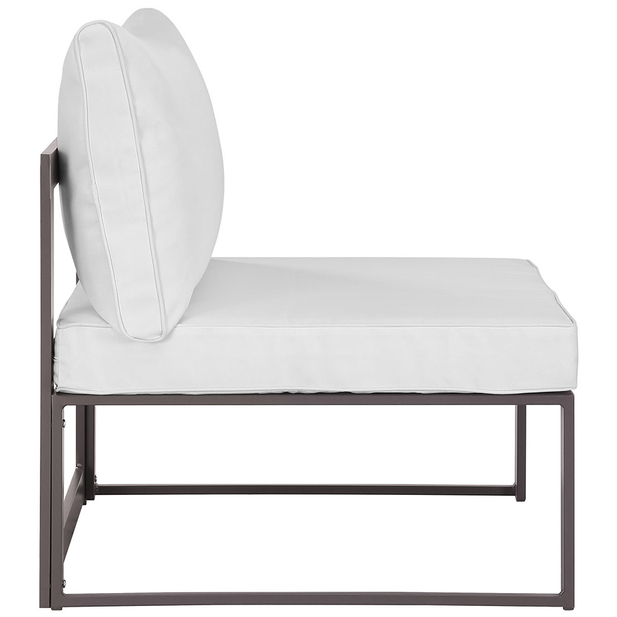 Fontana Brown + White Modern Outdoor Armless Chair - Side View