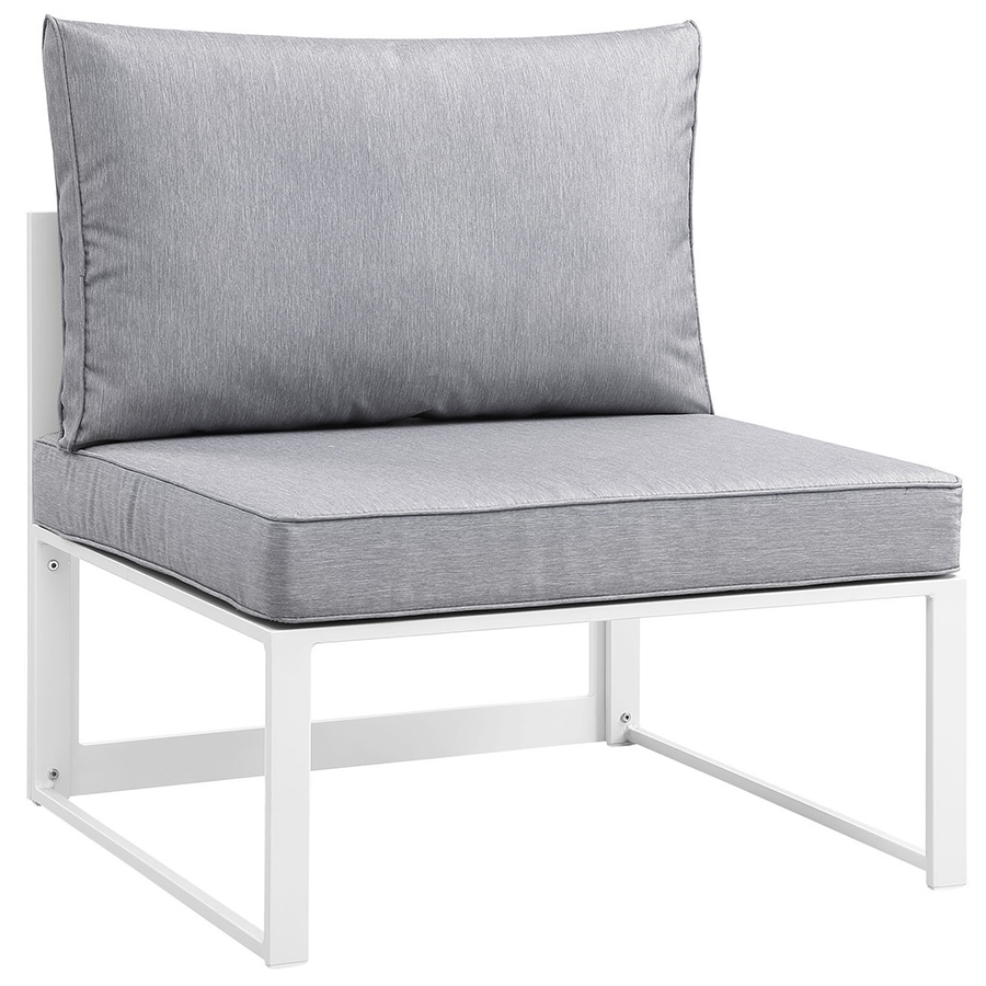 Fontana White + Gray Modern Outdoor Armless Chair
