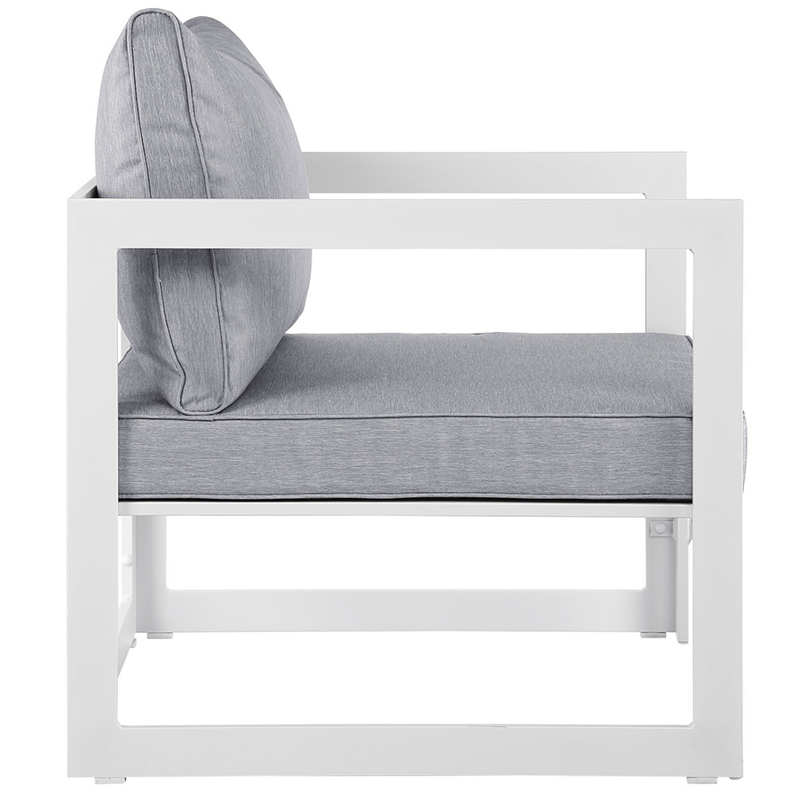 Fontana White + Gray Modern Outdoor Chair - Side View