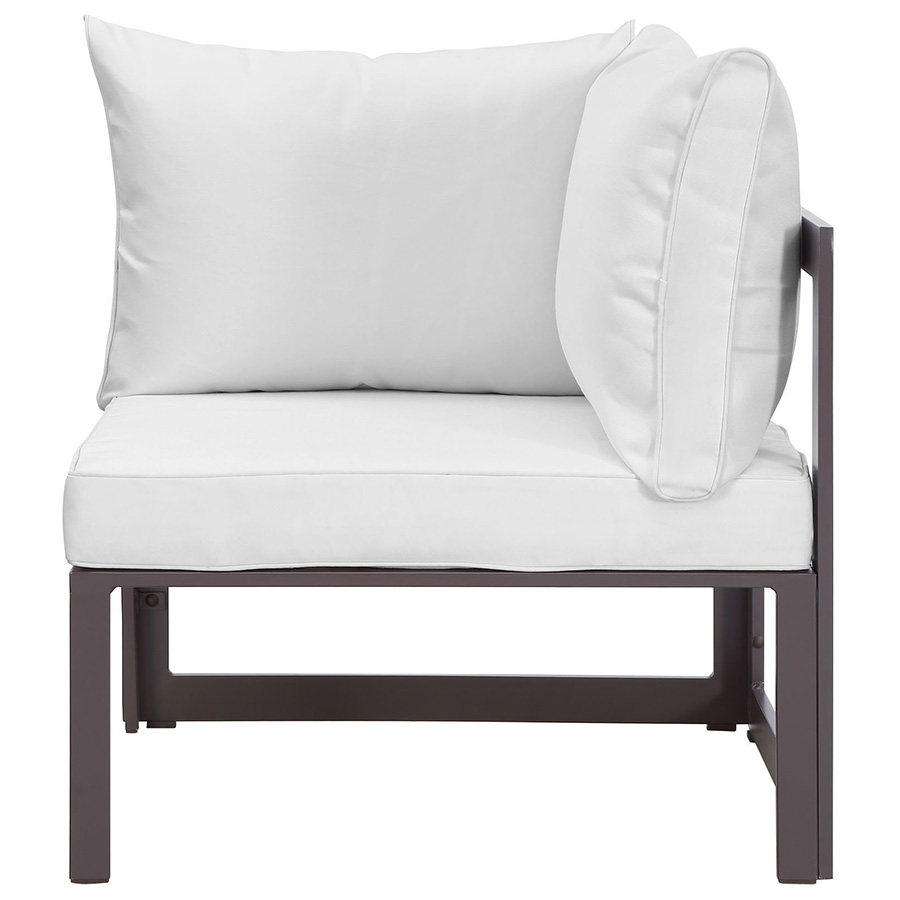 Fontana Brown + White Modern Outdoor Corner Chair - Front View