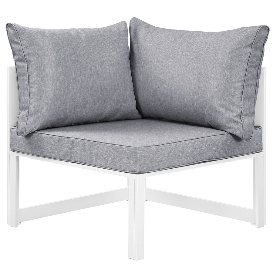 Fontana White + Gray Modern Outdoor Corner Chair