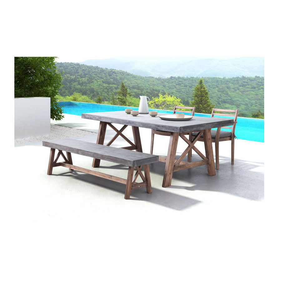 Fox Outdoor Cement + Wood Contemporary Bench