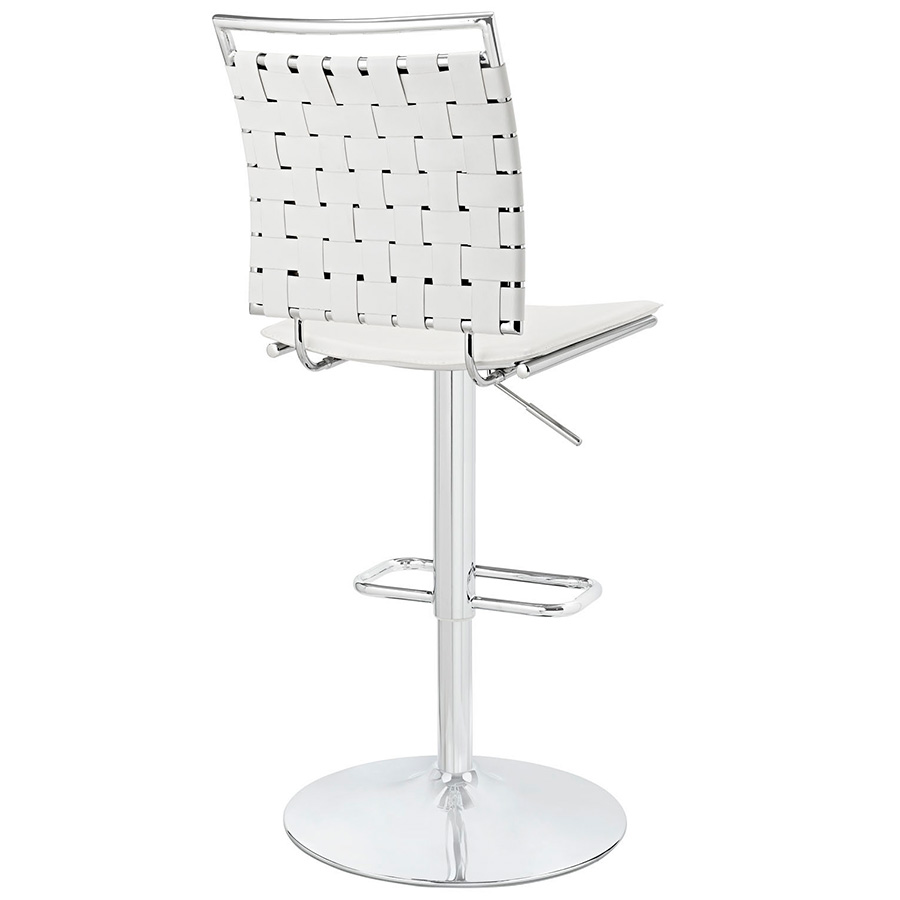 Fusion Modern White Armless Adjustable Stool - Back View