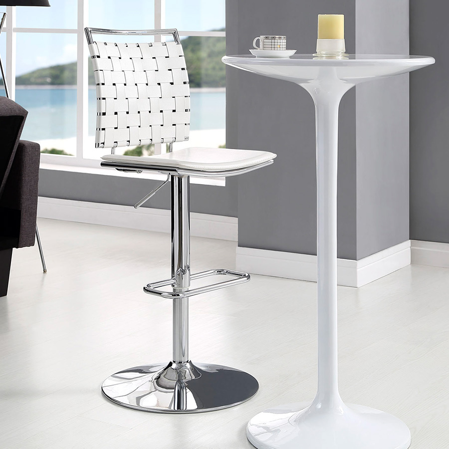 Fusion Contemporary White Armless Adjustable Stool