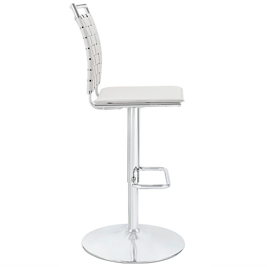 Fusion Modern White Armless Adjustable Stool - Side View