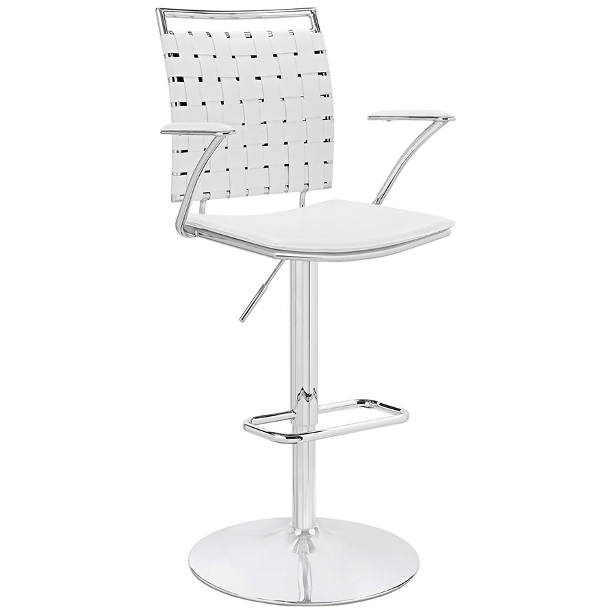 Fusion Modern White Adjustable Stool