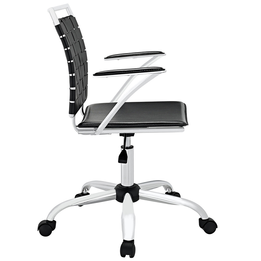 Fusion Modern Black Office Chair - Side View