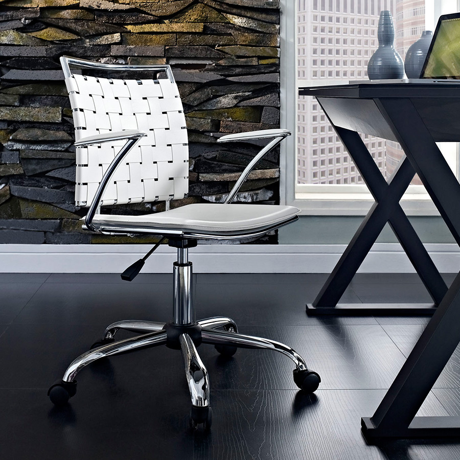Fusion Contemporary White Office Chair