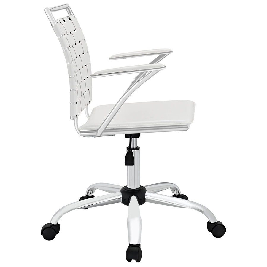 Fusion Modern White Office Chair - Side View