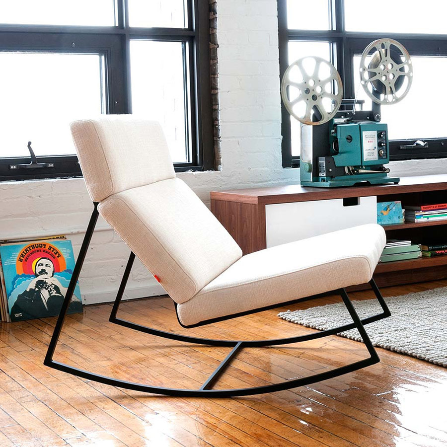GT Rocker Contemporary Lounge Chair in Cabana Husk - Lifestyle