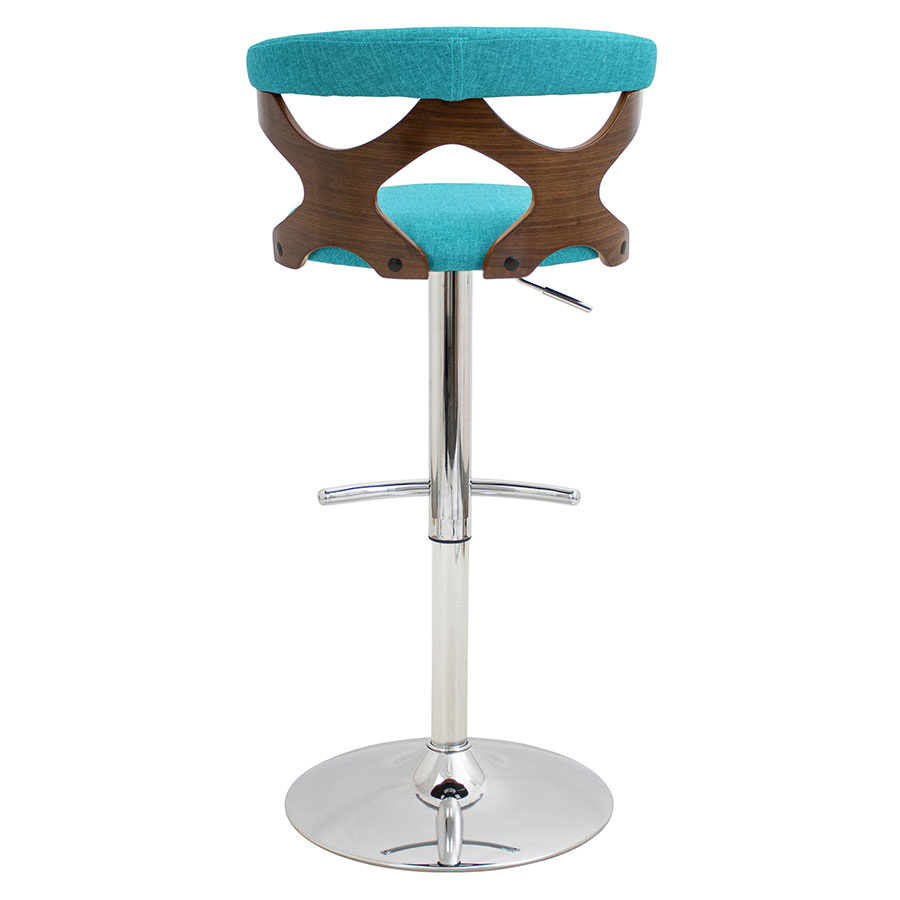 Gad Teal + Walnut + Chrome Modern Adjustable Stool