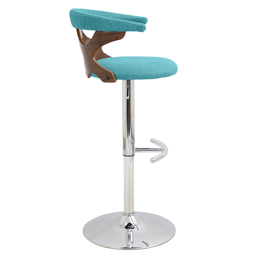 Gad Teal + Walnut Modern Adjustable Stool