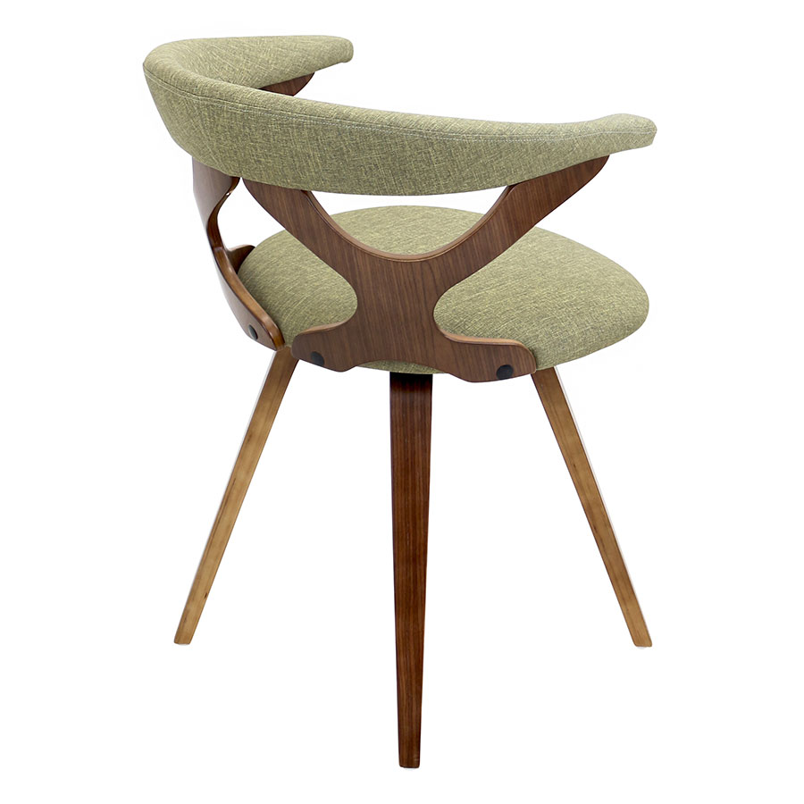 Gad Green + Walnut Contemporary Dining Chair