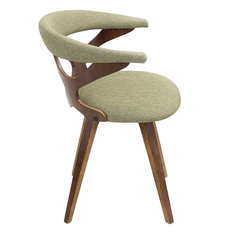 Gad Green + Walnut Modern Dining Chair