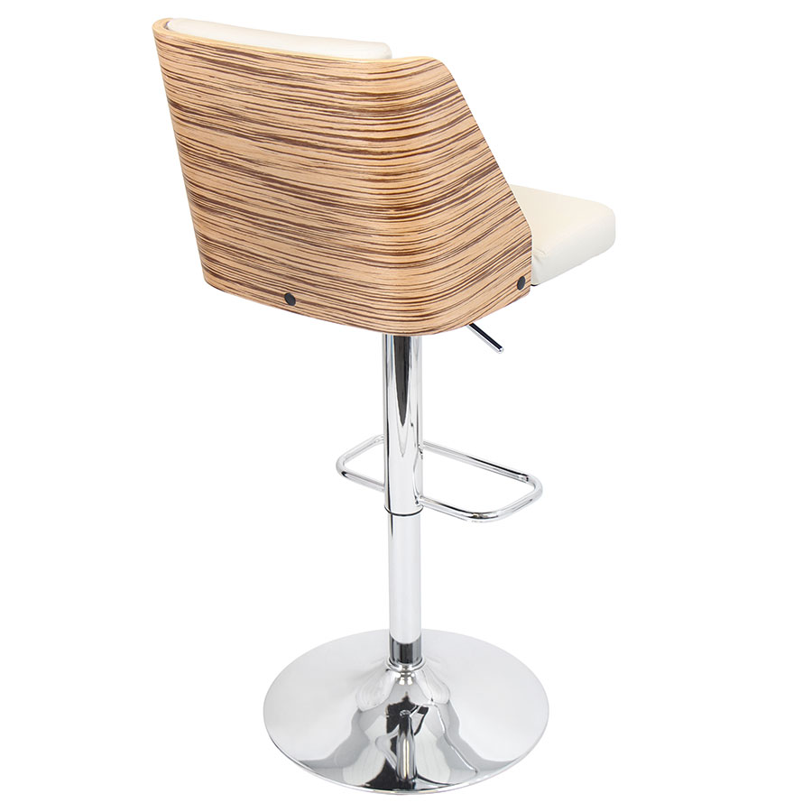 Galen Cream Modern Zebra Wood + Chrome Adjustable Bar Stool