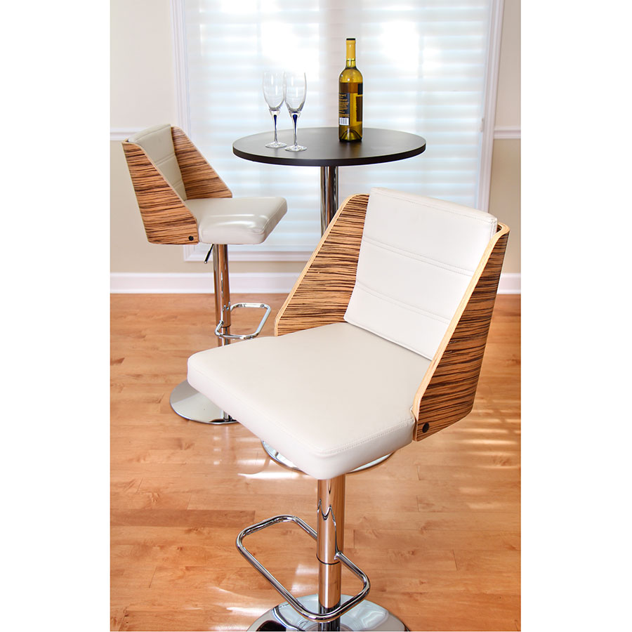 Galen Cream Contemporary Zebra Wood + Chrome Adjustable Bar Stool