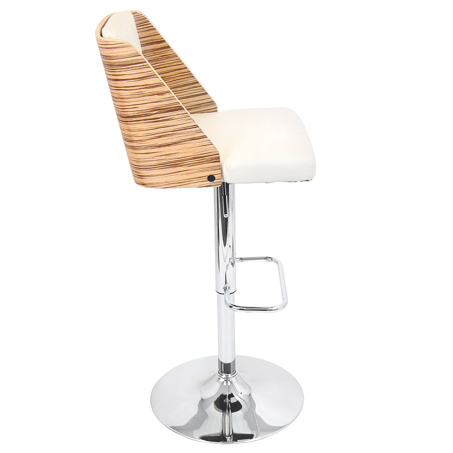 Galen Cream Contemporary Adjustable Bar Stool