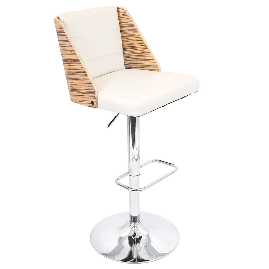 Galen Cream Modern Adjustable Bar Stool
